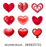 red glass and paper hearts | Shutterstock .eps vector #285825731