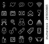 valentine's day line icons on... | Shutterstock .eps vector #285830885
