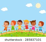 illustration of children walk... | Shutterstock .eps vector #285837101