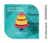 wedding cake flat icon with... | Shutterstock .eps vector #285840041