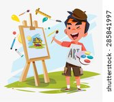 artist boy painting on canvas... | Shutterstock .eps vector #285841997