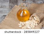 pumpkin seed oil in a glass... | Shutterstock . vector #285849227