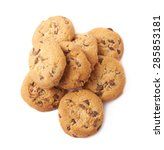 pile of round cookies with the... | Shutterstock . vector #285853181