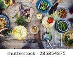 food beverage party meal drink... | Shutterstock . vector #285854375