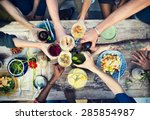 food table healthy delicious... | Shutterstock . vector #285854987