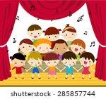 group of children singing | Shutterstock .eps vector #285857744