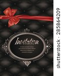 vip elegant card with red silk... | Shutterstock .eps vector #285864209