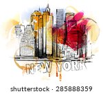 new york sketch | Shutterstock .eps vector #285888359