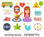 Set Of Color Hippie Vector Fla...