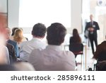 speaker giving a talk at... | Shutterstock . vector #285896111