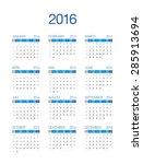 2016 european calendar   Shutterstock .eps vector #285913694