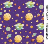 awesome cosmic seamless pattern ... | Shutterstock .eps vector #285923381