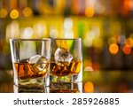 Whiskey Drinks On Bar Counter...