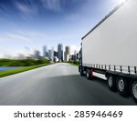 truck driving towards big city | Shutterstock . vector #285946469
