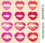 kissing lips in shape of hearts ... | Shutterstock . vector #285958571