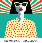 woman fashion with sunglasses.... | Shutterstock .eps vector #285960791