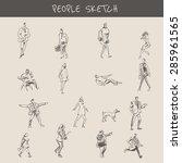 street walking people   drawing ... | Shutterstock .eps vector #285961565
