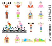 senior lifestyle flat icons set ... | Shutterstock .eps vector #285961985