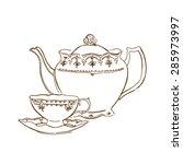 Vector Sketch Of Tea Service