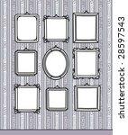 blank frames on wallpaper | Shutterstock .eps vector #28597543