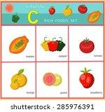 vitamin c rich foods set... | Shutterstock .eps vector #285976391