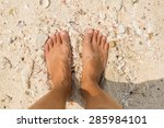 woman's bare feet on the beach. ... | Shutterstock . vector #285984101