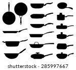 black silhouettes of a frying... | Shutterstock .eps vector #285997667
