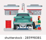 auto mechanic fixing car in... | Shutterstock .eps vector #285998381