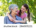 granddaughter and grandmother... | Shutterstock . vector #286005221