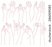 outlines set  of woman  hands ... | Shutterstock .eps vector #286009085