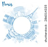 outline paris skyline with blue ... | Shutterstock .eps vector #286014335