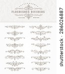 set of flourishes calligraphic... | Shutterstock .eps vector #286026887