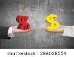 dollar symbol on one hand and... | Shutterstock . vector #286038554