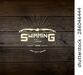 swimming badges logos and... | Shutterstock .eps vector #286046444