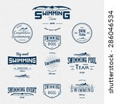 swimming badges logos and... | Shutterstock .eps vector #286046534