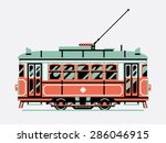 lovely retro three colored tram ... | Shutterstock .eps vector #286046915