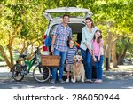 happy family getting ready for... | Shutterstock . vector #286050944