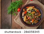 roast chicken liver with... | Shutterstock . vector #286058345