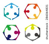 design vector hexagonal logo... | Shutterstock .eps vector #286064831