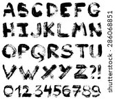 hand drawn gouache alphabet....   Shutterstock .eps vector #286068851