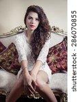 pretty model girl wearing white ... | Shutterstock . vector #286070855