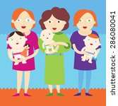 mothers holding beautiful babies | Shutterstock .eps vector #286080041
