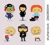 funny office characters  smiling | Shutterstock .eps vector #286080044
