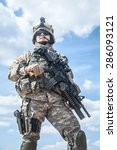 Small photo of United States paratrooper airborne infantry in uniform