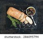 italian ciabatta bread cut in... | Shutterstock . vector #286095794
