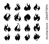 set of black flame icon | Shutterstock .eps vector #286097894
