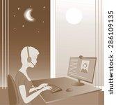 round the clock online...   Shutterstock . vector #286109135