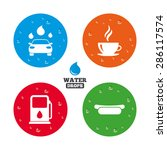 water drops on button. petrol... | Shutterstock .eps vector #286117574