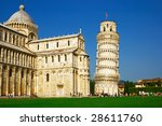Leaning tower of Pisa on the Square of Miracles, Italy - stock photo