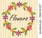 flowers design over beige... | Shutterstock .eps vector #286132427